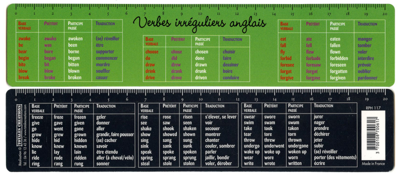 Verbes irreguliers-front back combo