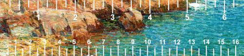 Rocks blue water-white ruler
