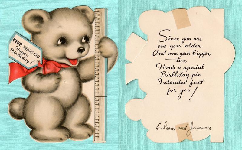 Bear 5th birthday front-inside combo