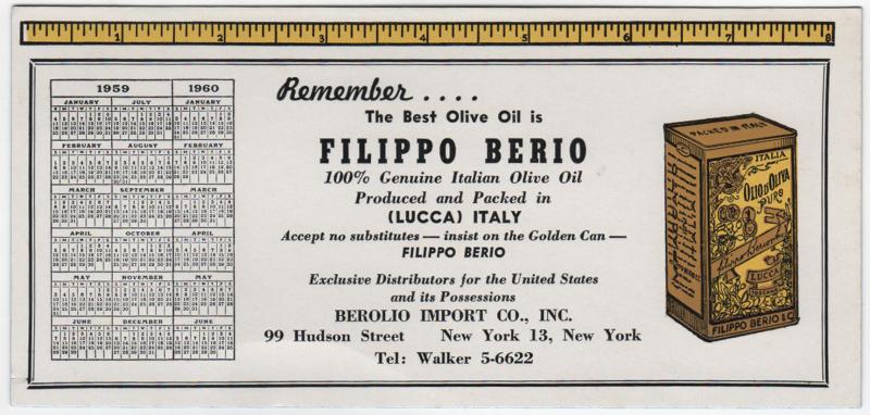 FilippoBerio-olive oil-blotter 1959